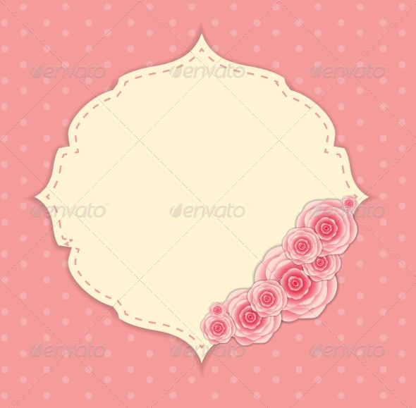 GraphicRiver Cute Frame with Rose Flowers Vector Illustration 6447576
