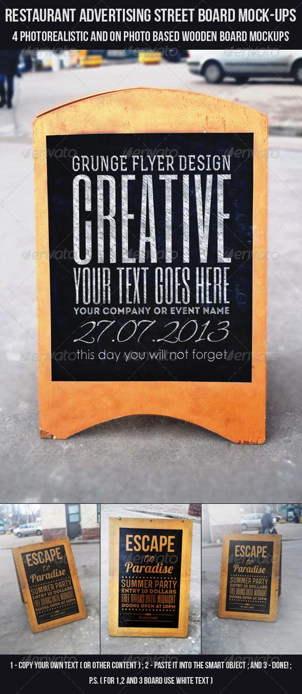 GraphicRiver Restaurant Advertising Street Board Mock-Ups 6447940
