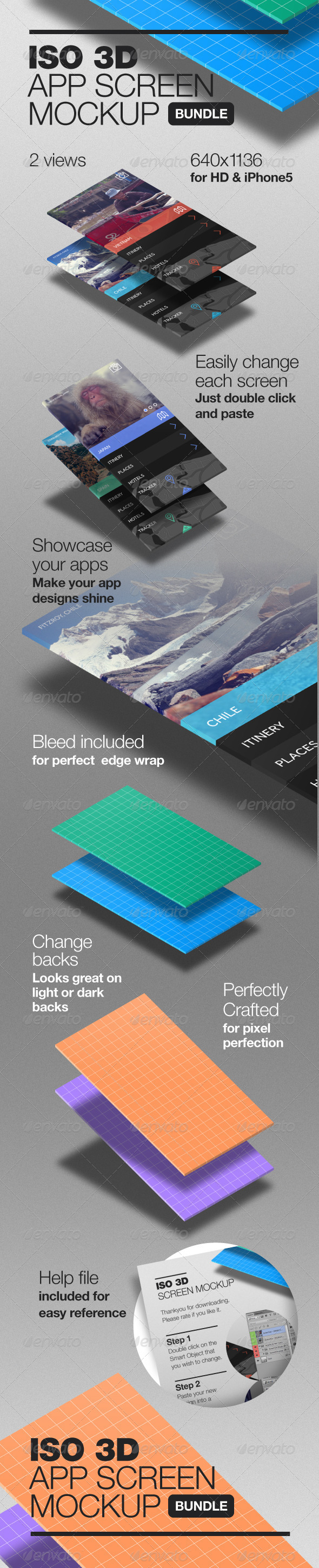 GraphicRiver 3D Isometric App Screen Mockup 6442578