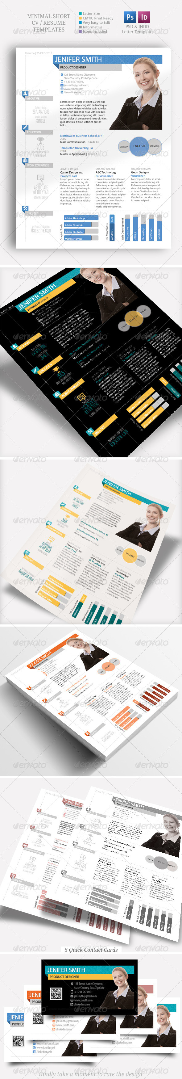 GraphicRiver Minimal Short CV Resume Set 6408660