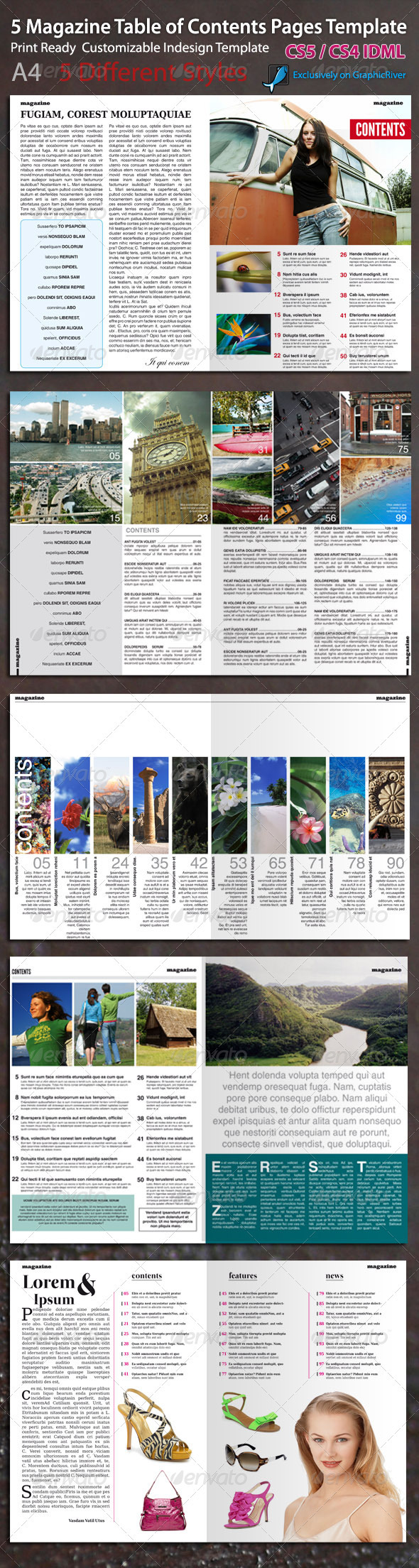 GraphicRiver Magazine Table of Contents Page Template 673889