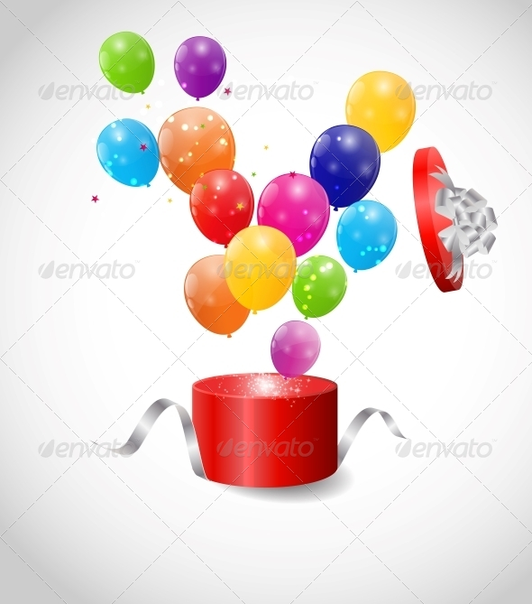 Color Glossy Balloons in Gift Box Background
