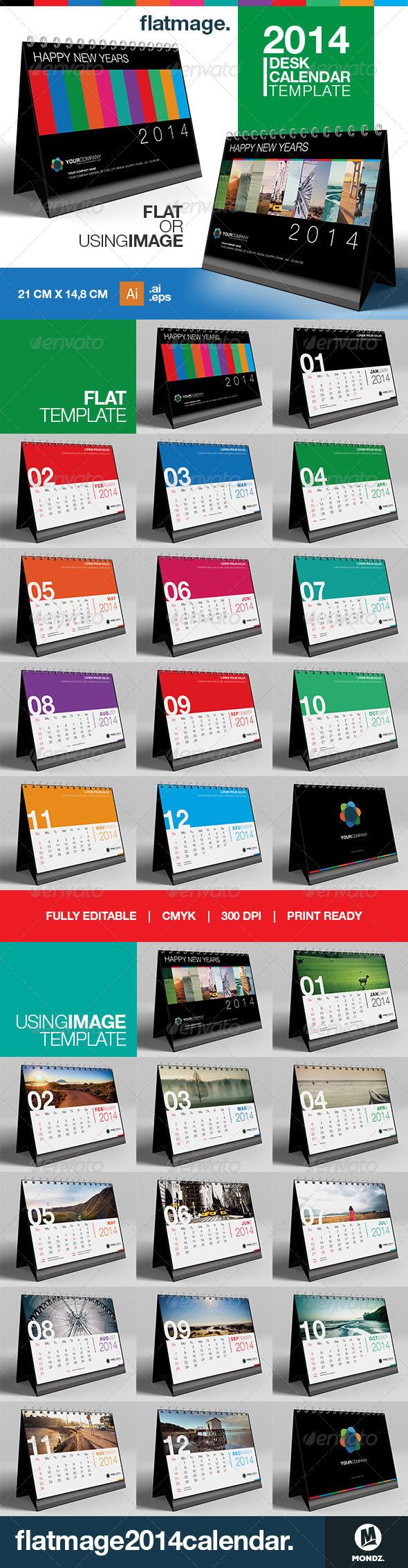 GraphicRiver Flatmage Desk Calendar 2014 Template 6449148