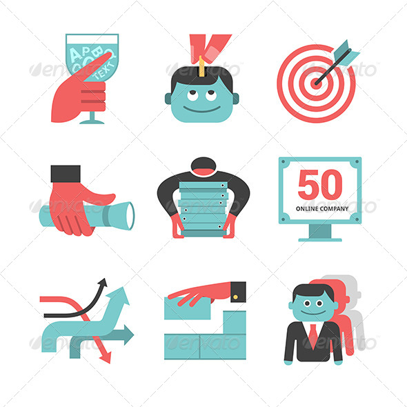 GraphicRiver Content Management Flat Icons Set Part 1 6449669