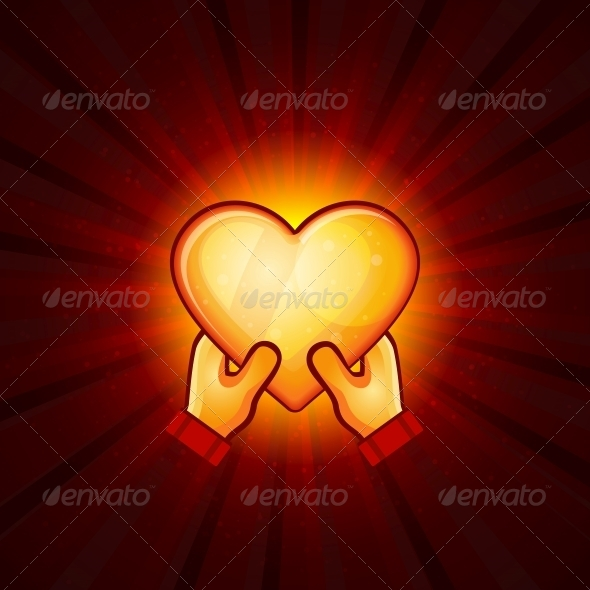 GraphicRiver Gold Heart And Hands On Red Background 6449824