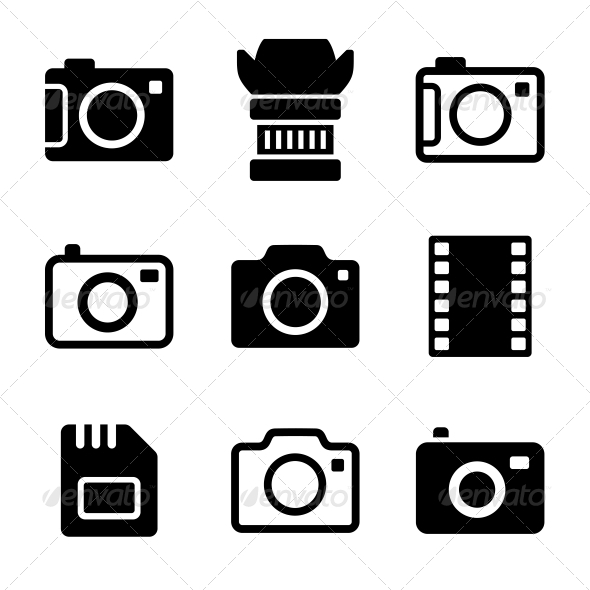 GraphicRiver Photo Camera and Accessories Icons Set 6450069