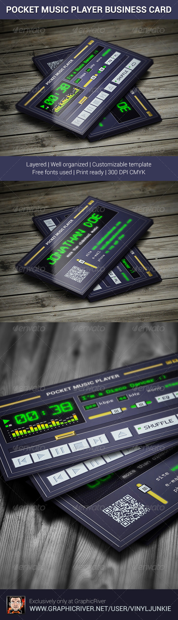 GraphicRiver Pocket Music Player Business Card 6450248