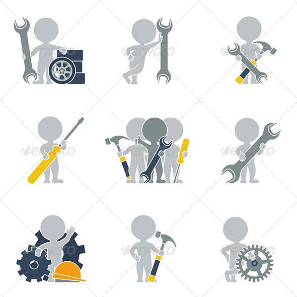 GraphicRiver Flat People Mechanics 6450296
