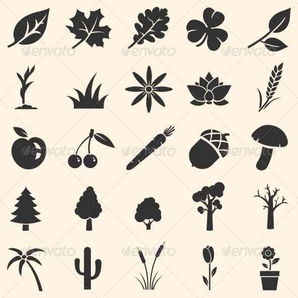 GraphicRiver Vector Set of Plants Icons 6450470