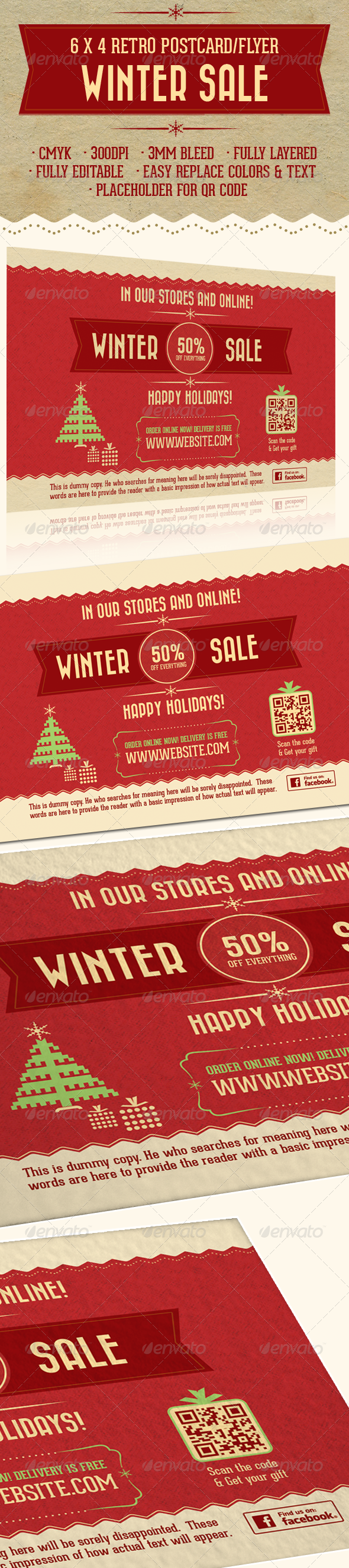 GraphicRiver 6X4 Retro Holiday Sale Postcard Flyer 6450489