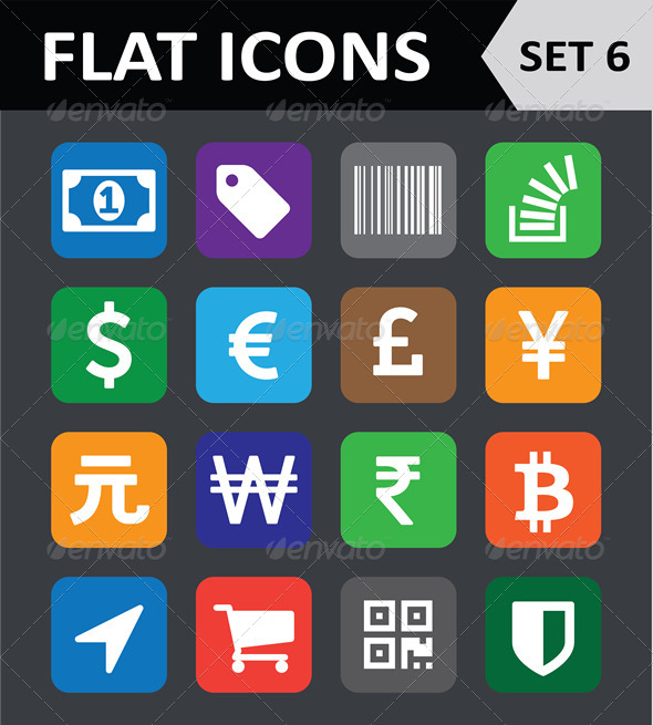 GraphicRiver Universal Colorful Flat Icons Set 6 6450604