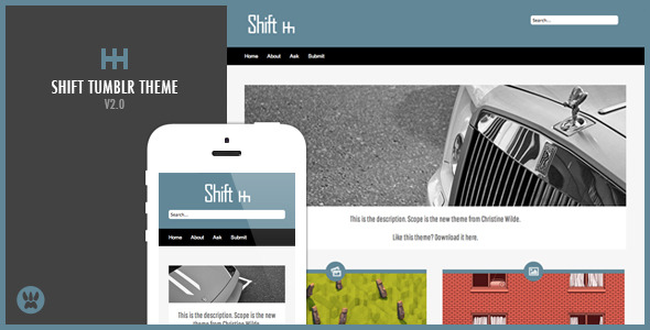 Shift - A Responsive Masonry Tumblr Theme