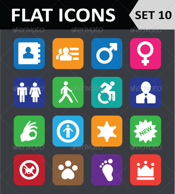 GraphicRiver Universal Colorful Flat Icons Set 10 6450680