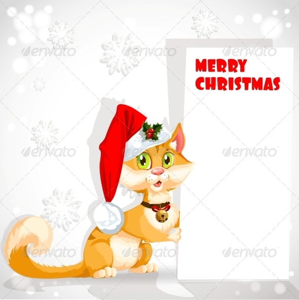 Cat in Santa s Hat Holding a Banner