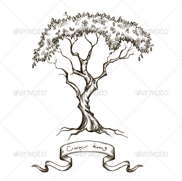 GraphicRiver Old Tree with Ribbon Banner 6450770