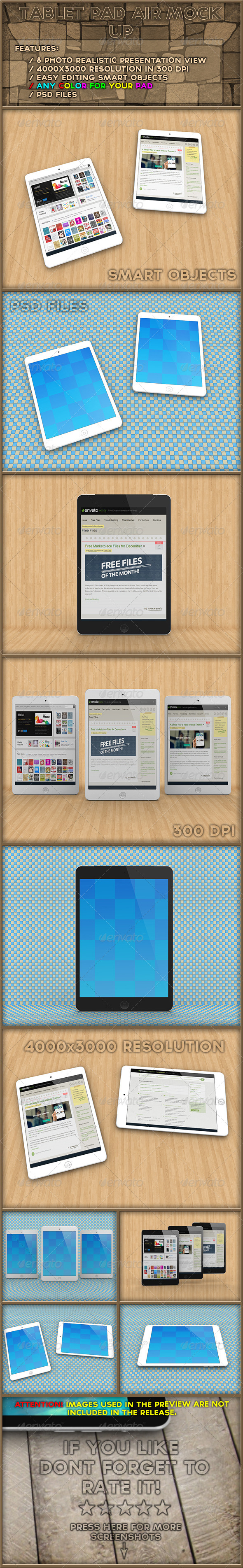 GraphicRiver Tablet Pad Air Mock Up 6450866