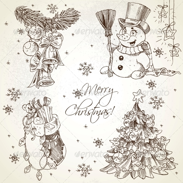GraphicRiver Merry Christmas Vintage Sketch Draw Set 6450914