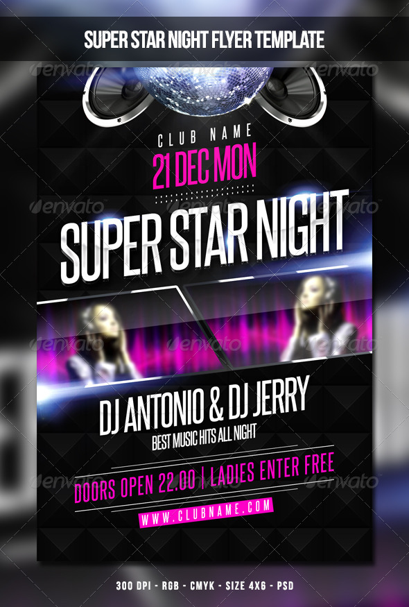 GraphicRiver Super Star Night Flyer Template 6451755