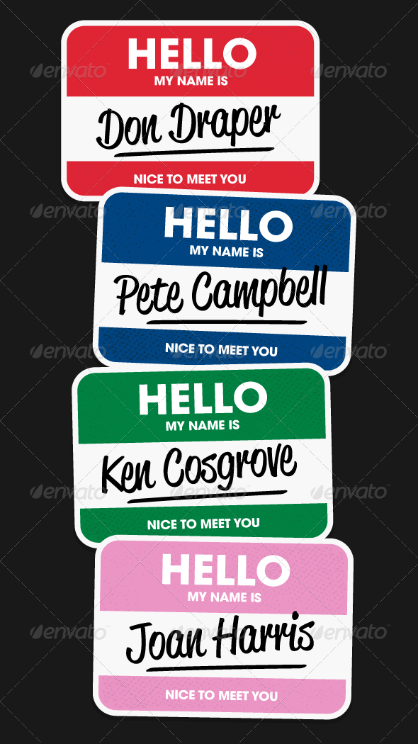 GraphicRiver Hello Name Stickers Vectors 674197