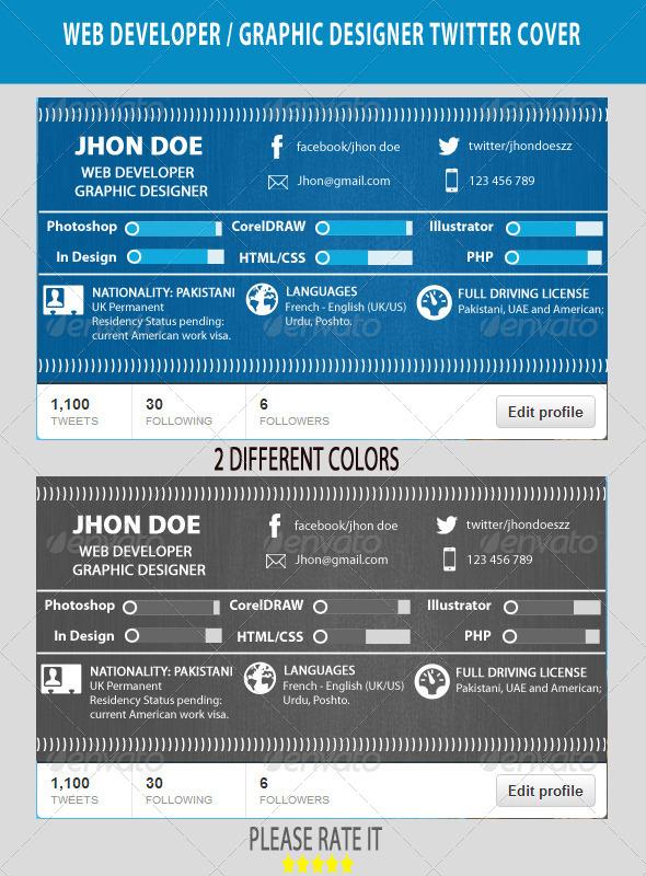 GraphicRiver Web Developer Graphic Designer Twitter Cover 6452032
