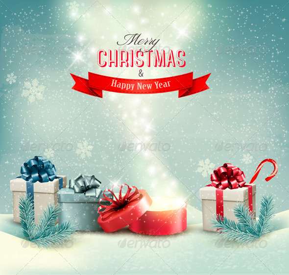 GraphicRiver Christmas Holiday Background with Presents 6452389