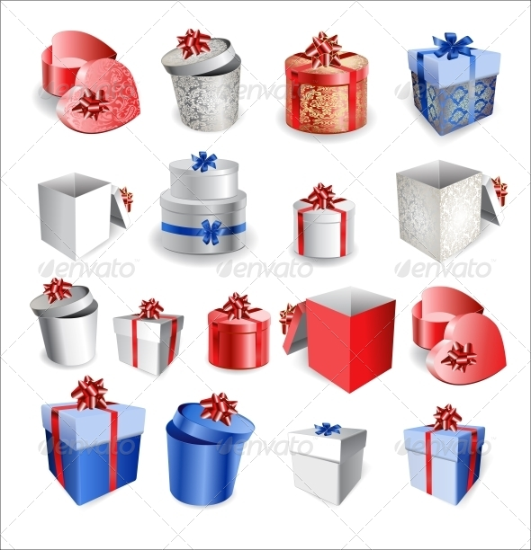 GraphicRiver Set of Colorful Gift Boxes with Bows and Ribbons 6452390
