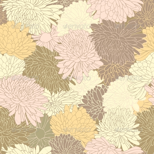 GraphicRiver Floral Pattern Background with Chrysanthemum 6452404