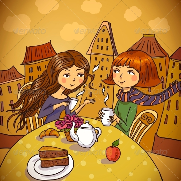 GraphicRiver Two Young Women Drinking Coffee in Cafe 6452875
