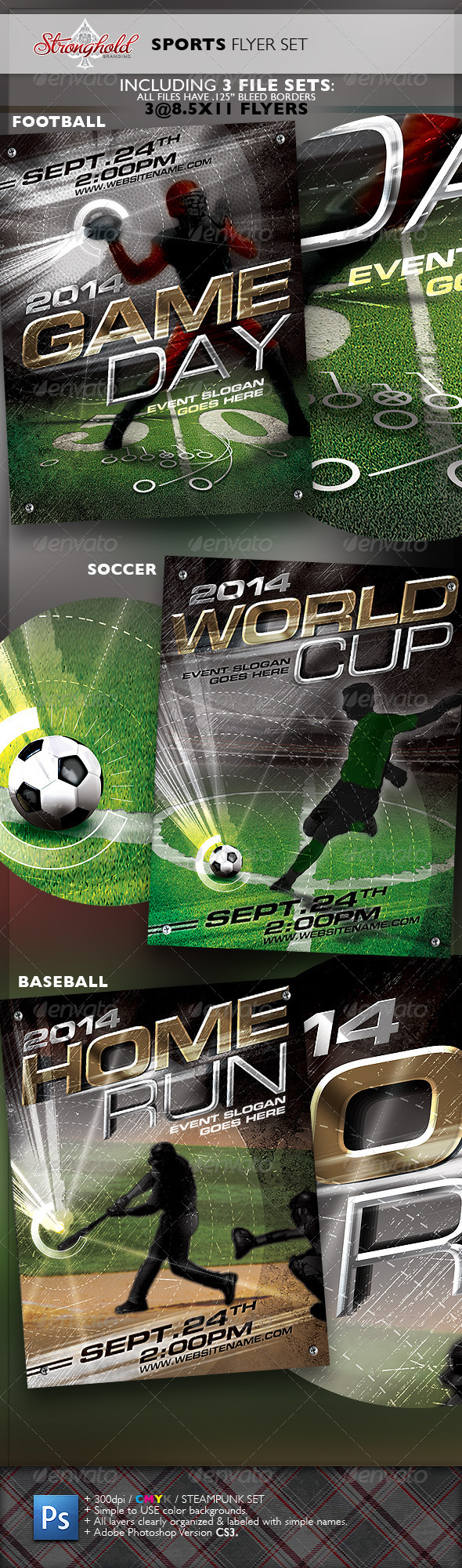 GraphicRiver Sports Flyer 3-Pack Flyer Template 6406243