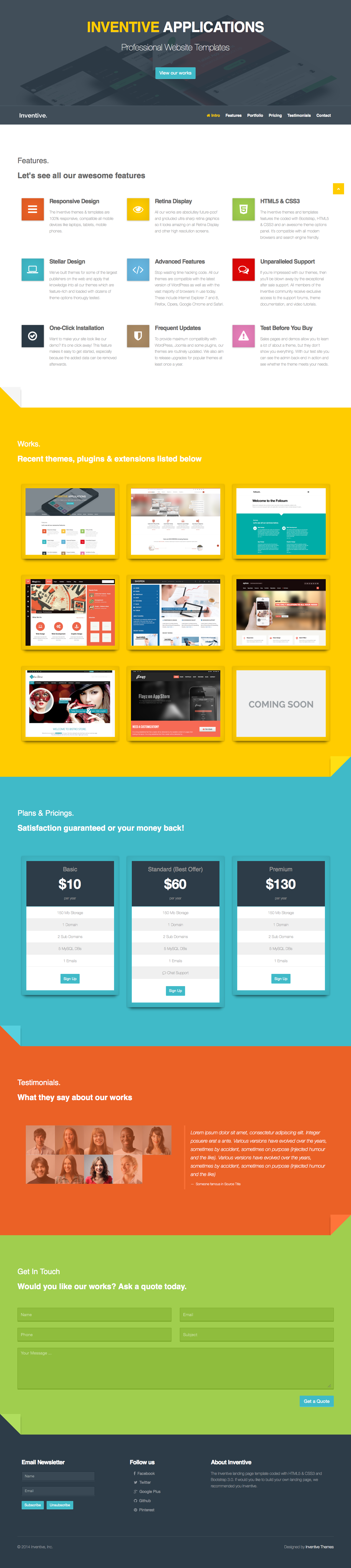 Inventive - Retina Landing Page Template
