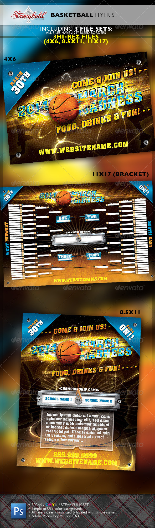 GraphicRiver March Madness Basketball Flyer Set 6454652