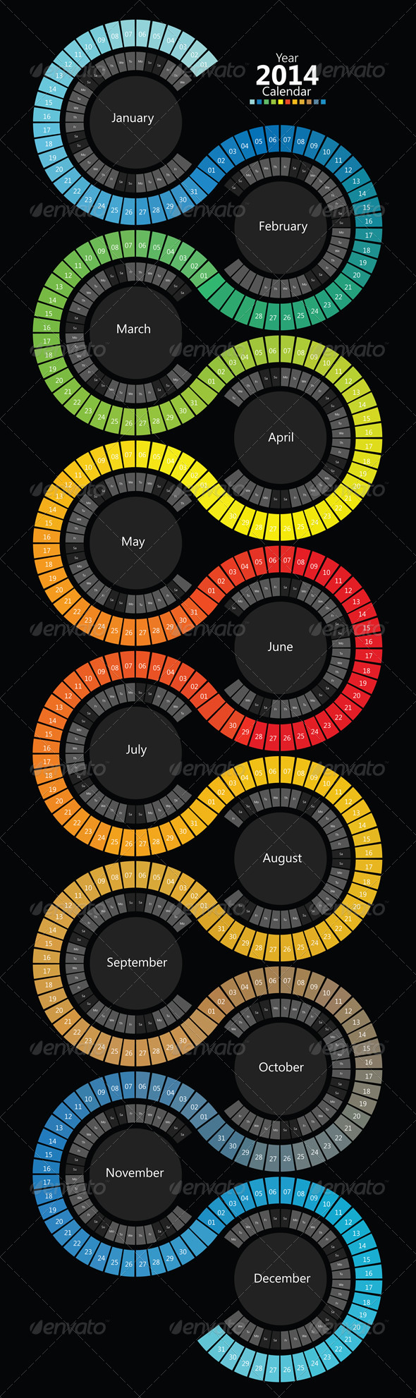 GraphicRiver 2014 Spectrum Swirl Calendar 6413900