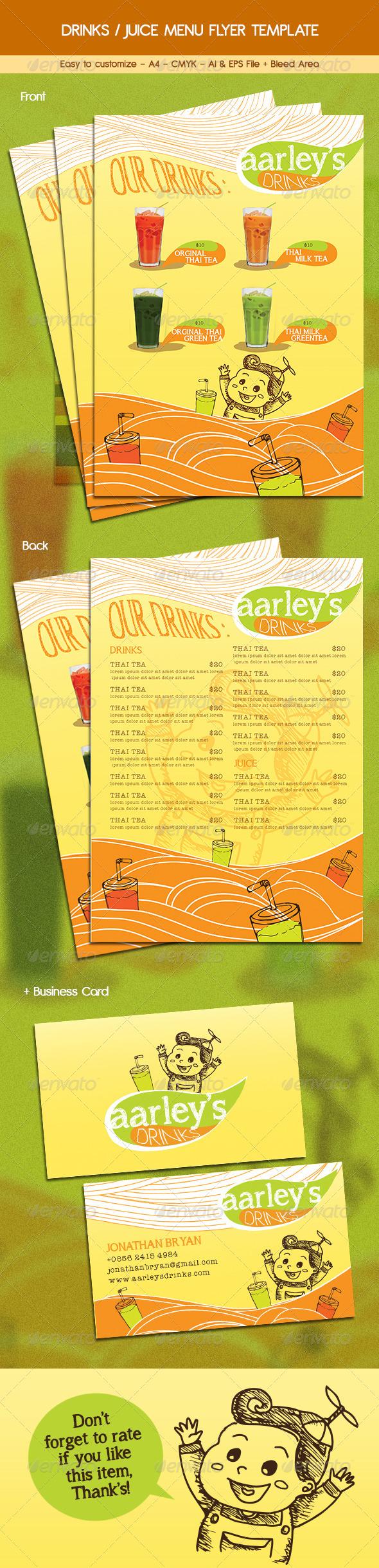 GraphicRiver Drinks Juice Menu Flyer 6455835