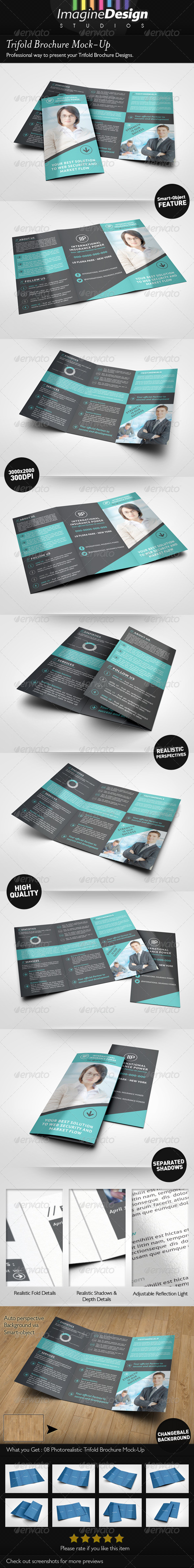 GraphicRiver Trifold Brochure Mock-Up 6455842