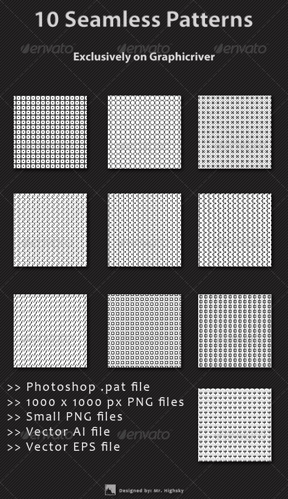 GraphicRiver 10 Small Background Seamless Patterns 6455973