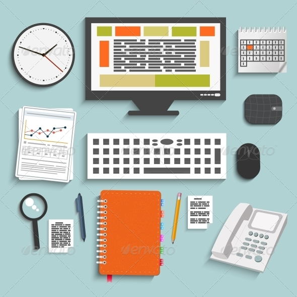 GraphicRiver Set of Office and Business Work Elements 6456037