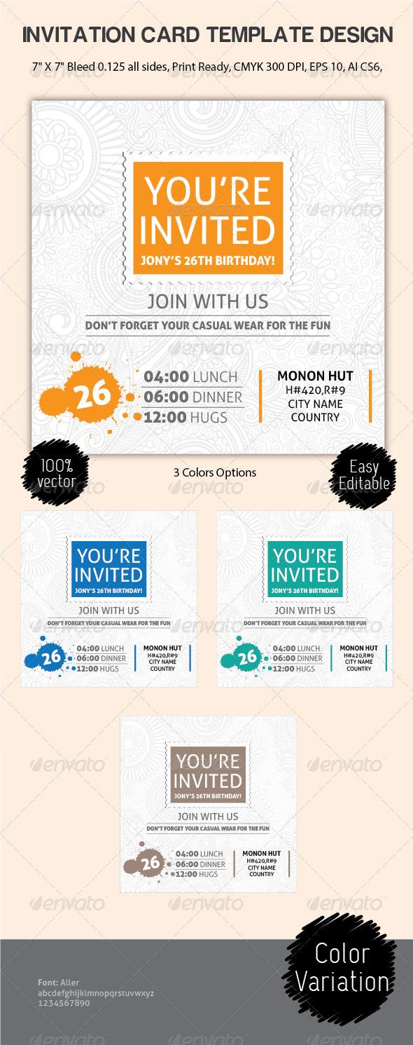 GraphicRiver Invitation Card Design Template 6456044