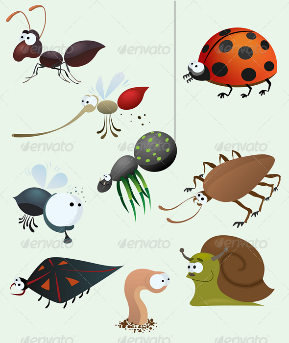 GraphicRiver Funny insect set 674676