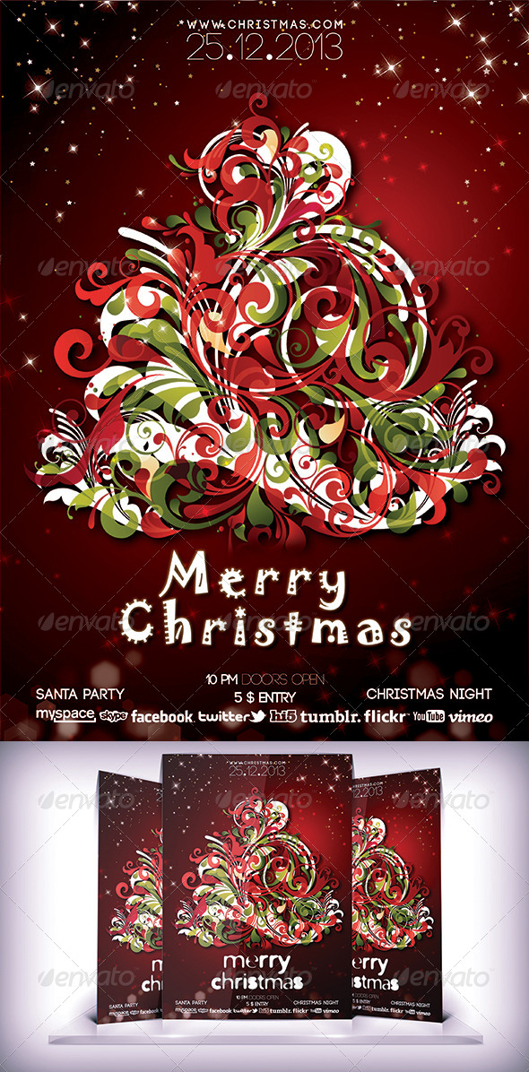 GraphicRiver Christmas Night Flyer 6409597