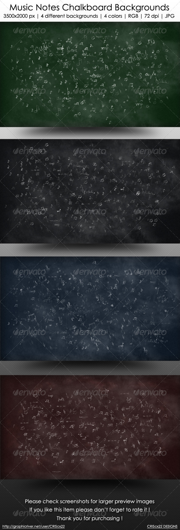 GraphicRiver Music Notes Chalkboard Backgrounds 6456752