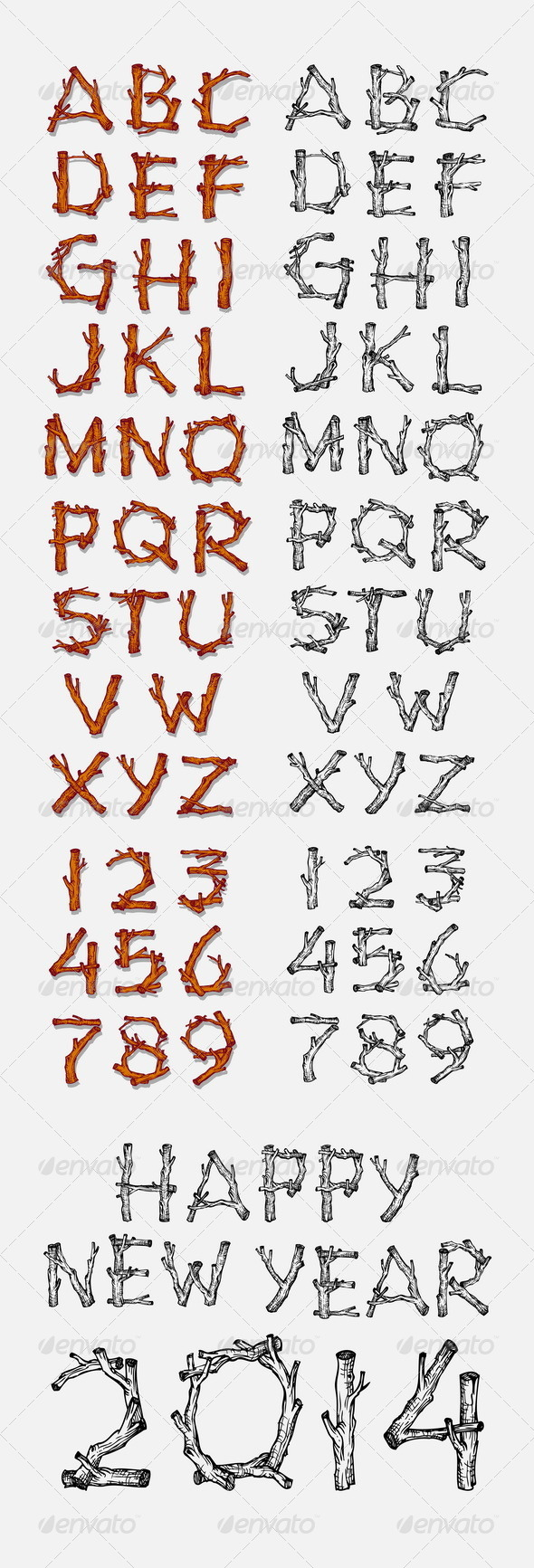 Tree Branch Alphabet - Man-made Objects Objects