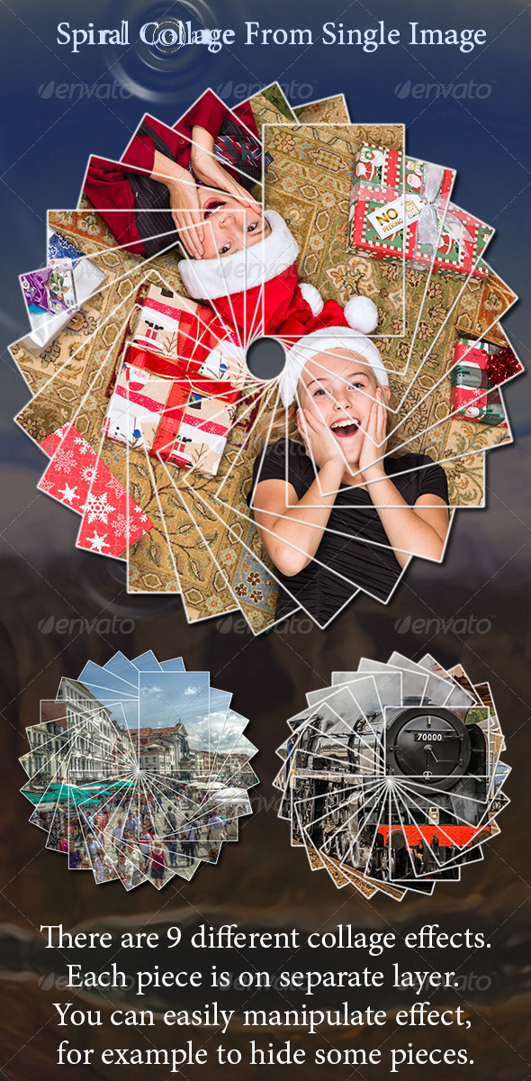 GraphicRiver Spiral Collage From Single Image Photoshop Actions 6457506