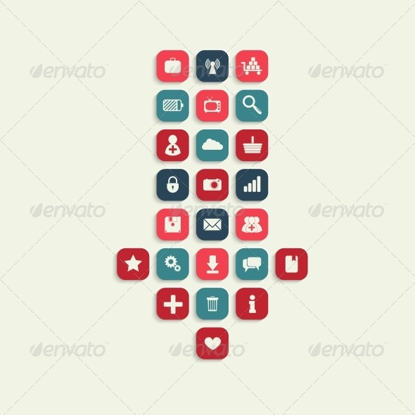 GraphicRiver Vector Icon with Download Sign Inside 6457640