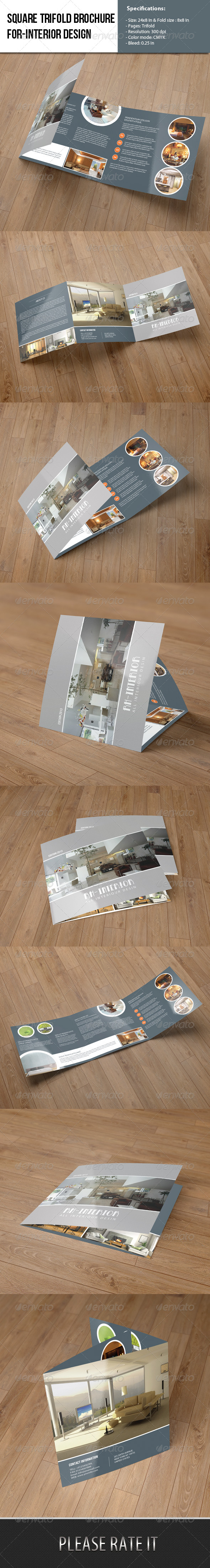 GraphicRiver Square Trifold Brochure-Interior Design 6457727