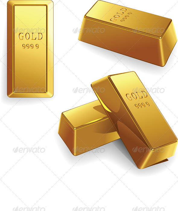 Vector set of gold bars - Concepts Business