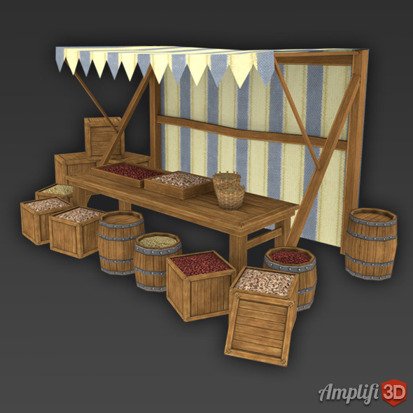 3DOcean Grain Market Stall with Hand-painted Texture Style 6458593