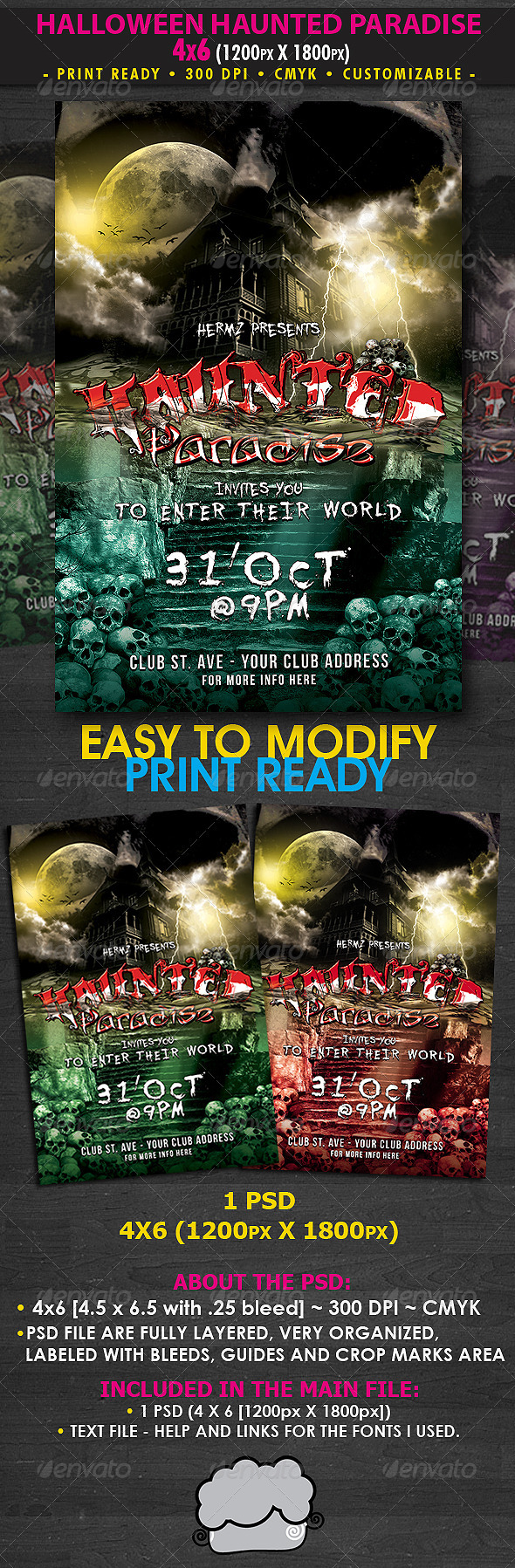 GraphicRiver Halloween Haunted Paradise Flyer Template 675182