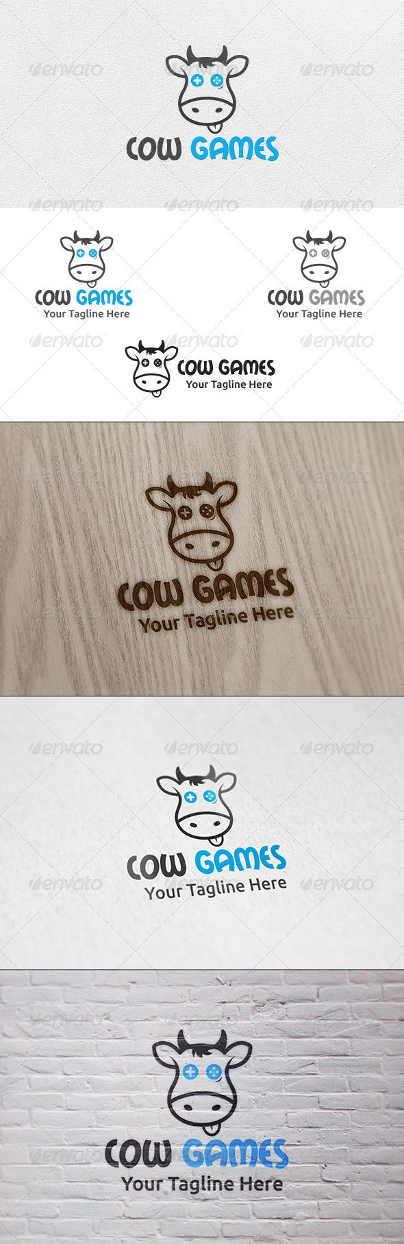 GraphicRiver Cow Games Logo Template 6459090