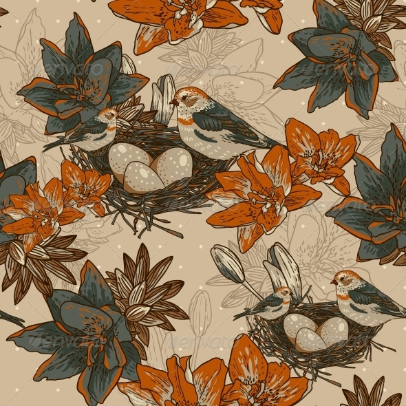 GraphicRiver Seamless Floral Background with Bird 6459258