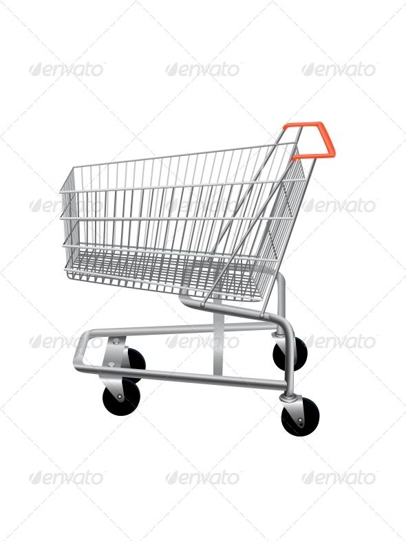 Empty Supermarket Shopping Cart
